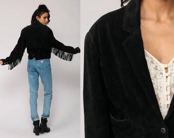 Black Suede Jacket FRINGE Jacket 80s Boho Black Leather Jacket SOUTHWESTERN Vintage Cropped Hipster Coat Bohemian Hippie 1980s Medium