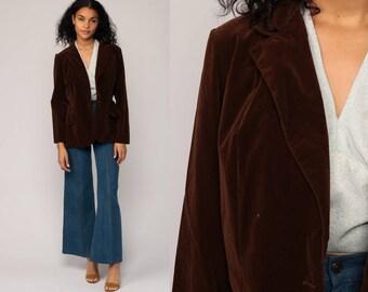 VELVET Blazer 80s Brown Velvet Jacket Vintage Tailored 1980s Collared Hipster Vintage Professor Retro Medium Large
