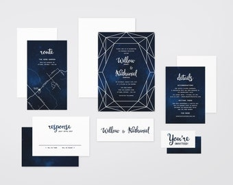The 'Rebekah' Starlight Watercolour Wedding Invitation Suite (Printable PDFs)