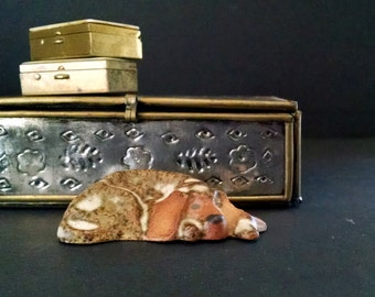 Sleeping Dog Figurine Spotted Hound Dog Vintage Tremar Pottery