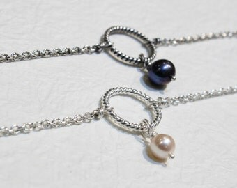 Circle Pearl bracelet, Sterling Silver/Oxidized and Pearl  Eternity bracelet, Wedding bracelet