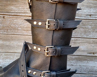 Primitive Oiled Black Leather Peaked Spats with Nickel Raven Skull & Antiqued Distressed Ring Pair 1