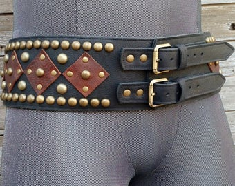 Black and Brown Leather Wide Belt w Repeating Design in Antiqued Brass Spots and Hardware