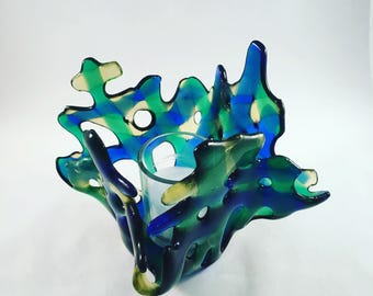 Artsy Candleholder, blue green fused glass, beachy colors, unique gift