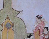 SALE- 1970s Edmund Dulac Print/Color Plate/Book Page/Bookplate From ARABIAN NIGHTS-2 Sided