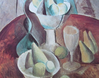 Picasso Art-Cubism/Compote with Pears, Factory at Horta de Ebro, 1970 2-Sided Book Page, Fine Art Print, Color Plate