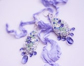 SALE -50% off // Tanzanite // Hand Embroidered Fine Crochet Statement Earrings OOAK