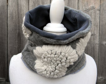 Upcycled Reversible Women Neck Warmer Cowl Scarf Wrap Wool / Fleece Gray With Bold White Embroidered Flowers