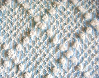Cabin Crafts Stripes, Pops and Plush Vintage Cotton Chenille Bedspread Fabric 12 x 24 Inches