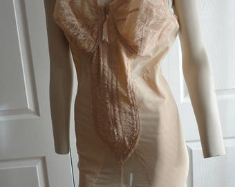 70s Corselette/Girdle 40D Beige Grenier Model 6550 Full Support Made in Canada Vintage
