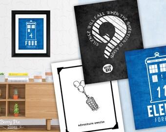 Doctor Who Prints (15 designs) // 8x10 Print Poster, Geek Artwork & Gifts // 8x10 Wall Art
