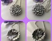 CUSTOM LISTING -Zinnia Big Flower Pendant in sterling silver