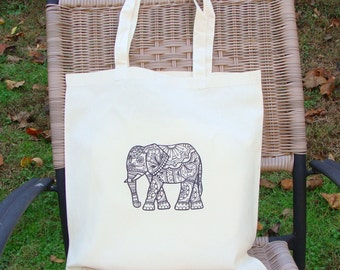 Elephant Tote Bag Farmers Market Bag Graphic Original Artwork Adult Coloring Cotton Canvas Gift Bag Lucky Charm Mandala Beach Heat Press