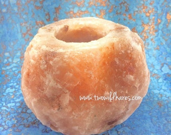 HIMALAYAN SALT CANDLE Holder, Natural Pink Salt, Fits Votives or Tealights, 1.5-2lb