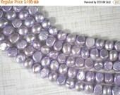 SALE Lavender Pearls 8mm Baroque Potato Side Drilled - FULL Strand (4291)