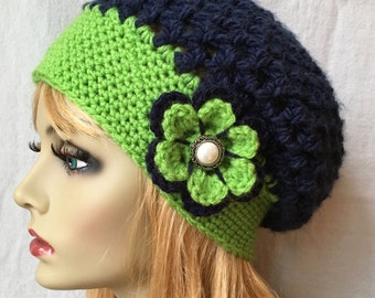 Sports Team Seattle Seahawk Lime Green, Navy Blue Womens Hat, Crochet Slouchy Beret, Thick Chunky, Teens, Birthdays Gifts for Her, JE610B2
