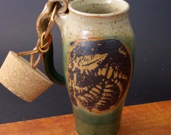 Stoneware Travel Mug With Cork ~ Fern Design ~
