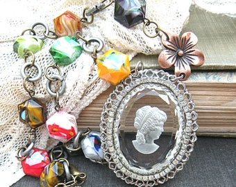 bohemian cameo necklace assemblage glass beads chunky mori girl cottage chic romantic goddess jewelry woman lady pendant