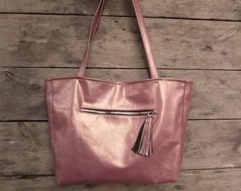 copper pink womens leather tote, rose gold leather bag minimal leather tote, hobo, shoulder bag, work bag, everyday bag spring fashion