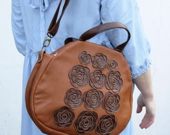 brown leather floral handbag , rustic leather bag, vintage luc  leather  bag, boho leather bag,  purse, shoulder bag gift idea for mom