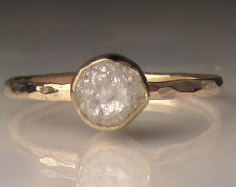 Raw Diamond Engagement Ring, Rough Diamond Ring in 14k Yellow Gold, White Uncut Diamond Ring