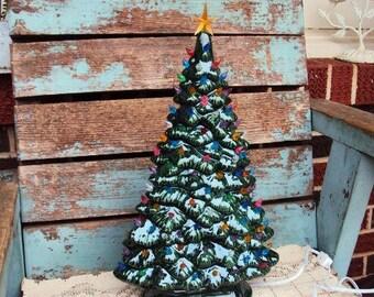Vintage Ceramic Christmas Tree Light Lighted Windowsill Tree Shelf Slim Style Retro Kitsch Ornament Bulbs Large Decorative Decoration