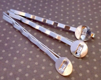 free shipping in UK - Pack of 20 Silver Tone Hair Slide Hair Grip with Pad