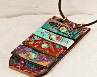 SALE NECKLACE Ideas For Gifts - Art Necklace Jewelry - Colorful Funky Unique Painting - Original Multi Color 2017