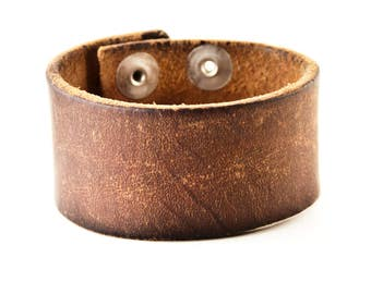 Brown Leather Bracelet Vintage Cuff Wristband Distressed
