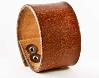 Brown Leather Cuff Bracelet Vintage Distressed