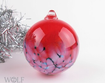 Blown Glass Christmas Tree Holiday Ornament Bauble Bright Red Snowball