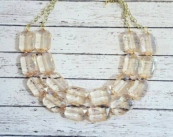 FREE EARRINGS,Champagne Transparent Chunky Statement Bib Necklace...Purchase 3 or more get 10% off