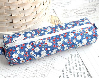 Blue Floral Pencil Case Floral Boxy Pouch Red White and Blue Floral Print
