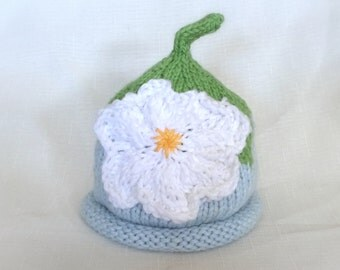 Organic Cotton Blueberry Flower Baby Hat great photo prop
