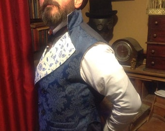 "Steampunk Classic Sweeny Todd  Navy and White Waistcoat 36""- 40"" Chest."