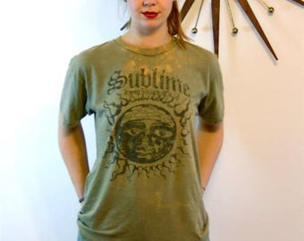 Spring SALE 25% Vintage Sublime 90s Punk Ska Rock Band T-Shirt Thrashed Distressed Holes Ripped Army Green Long Beach CA Sun Logo 1990s Six