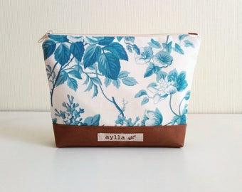 Cosmetic Pouch, Makeup Bag, Canvas Cosmetic Bag, Pencil Pouch, Toiletry Bag,  Zipper Pouch, Pencil Case, Travel Zipper Bag, Cord Bag, Floral