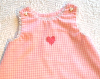 Vintage Pink Gingham A-Line Dress with neckline and hem trimmed in lace.  Size 12 months/1T. Ready to Ship.