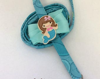 Seas The Day Mermaid Dog Leash With Bow by Doogie Couture Pet Boutique