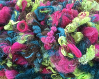 Art Yarn, Suri Alpaca, Handspun, 9 Yards, Hand-Dyed, Cedar, Azalea, Wattle, Natural Brown