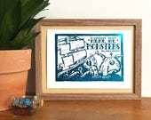 Sea Monster Metallic Foil Mini Print (From Linocut), Funny print, Pirate Theme, Here be Monsters, Nautical Art, Sea Print, Boat, Pirate Ship
