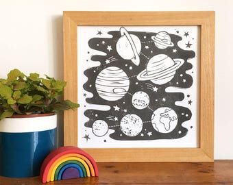 Solar System Space Linocut Print - Children's Room Print, Space Print, Science Print,  Space theme, SciFi Print, Space Art