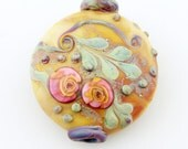 Lampwork Bead  Floral Lentil Focal,  Etched Glass,Brown, Silver,  Green, with Pink Roses, SRA