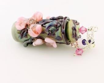 Lampwork Glass Vessel Green, Pink - Aromatherapy Amphora Jar Cork Lid Swarovski Crystals Perfume Jar