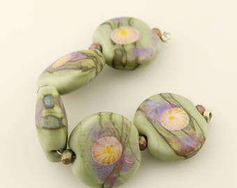 Lampwork Glass Bead Set, Lentil, Green Purple Pink Etched Matte