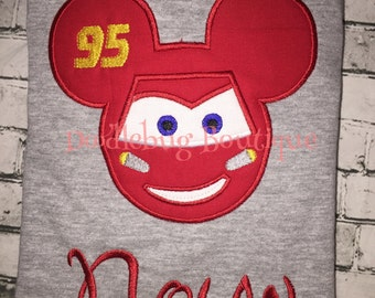 Lightening McQueen Mickey Mouse shirt with FREE name