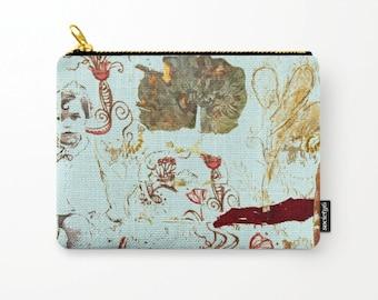 Cosmetic bag, toiletry storage, makeup bag, beauty Pouch, pencil bag, turquoise purse, anagonzalezart