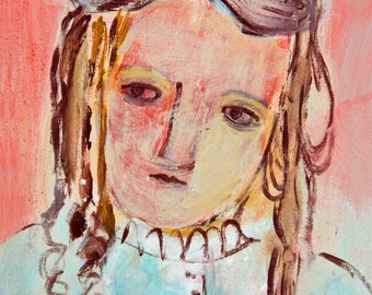 Fine Art Print, Giclee Art, from painting, modern wall art red turquoise, face girl, by Ana Gonzalez