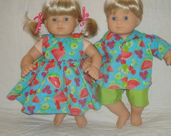 """15 Inch Doll Clothes/Fruit Fun/Made to fit 15"""" Bitty Baby Twins Dolls/READY TO SHIP"""