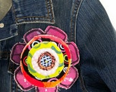 Funky Flower Pin - Purple with Blue Button